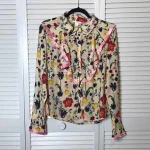 H&M floral long sleeve top size 14